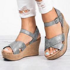 Femmes PU Talon compensé Sandales Compensée avec Boucle chaussures