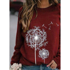 Print Round Neck Long Sleeves