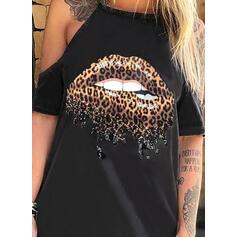 Impresión Leopardo Top sin Hombros Manga corta Casual Blusas