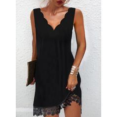 Sólido Encaje Sin mangas Vestidos sueltos Sobre la Rodilla Pequeños Negros/Casual Vestidos