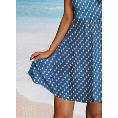 Print Sleeveless A-line Above Knee Casual Skater Dresses