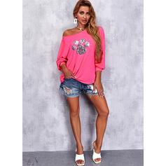 Print Sequins Round Neck Long Sleeves Sweatshirt