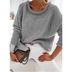 Solid Round Neck Casual Sweaters