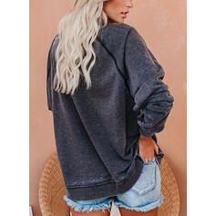 Print Round Neck Long Sleeves Christmas Sweatshirt