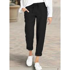 Pockets Shirred Plus Size midi Casual Elegant Long Pants