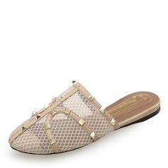 Femmes Similicuir Talon plat Bout fermé Chaussons avec Rivet chaussures