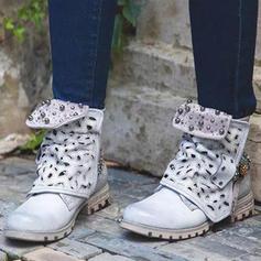 Dámské PU Nízký podpatek Boty Bez Podpatku Boty Kozačky do půl lýtek S Vydlabaný obuv