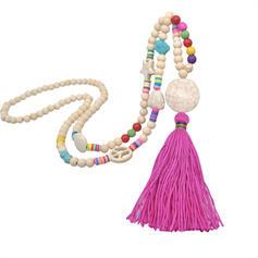Boho Imitation Türkis Baumwollschnur Holzperlen mit Quasten Halsketten