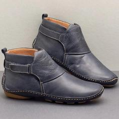 Kvinner PU Lav Hæl Støvler med Velcro sko
