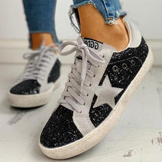 Women's Sparkling Glitter PU Casual Outdoor With Sequin Sparkling Glitter Lace-up shoes