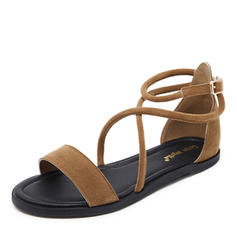 Women's Suede Flat Heel Sandals With Lace-up shoes