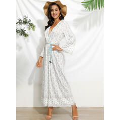 Print Long Sleeves A-line Skater Casual/Boho/Vacation Maxi Dresses