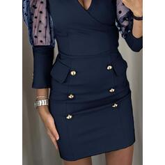 PolkaDot Long Sleeves/Puff Sleeves Bodycon Above Knee Little Black/Casual/Elegant Dresses