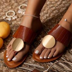 Women's PU Flat Heel Sandals Flats Peep Toe Round Toe With Buckle shoes