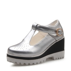 Naisten Keinonahasta Wedge heel Suljettu toe Kiilat jossa Solki kengät