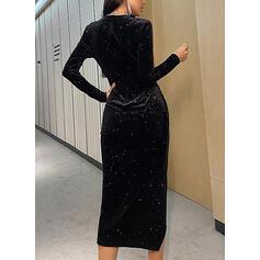 Couleur Unie Manches Longues Fourreau Asymétrique Petites Robes Noires/Fête/Élégante Robes