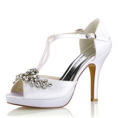 Femmes Soie comme du satin Talon stiletto Plateforme Escarpins Sandales avec Cristal