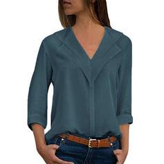 Plain V Neck Long Sleeves Casual Blouses