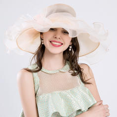 Ladies' Classic/Handmade Cambric/Organza With Silk Flower Beach/Sun Hats