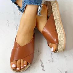Női PU Lapos sarok Szandál Lakások Peep Toe Papucs -Val Animal Print cipő