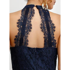 Lace/Solid Sleeveless A-line Maxi Party Dresses