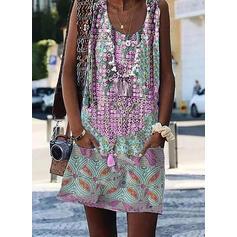 Print Sleeveless Shift Above Knee Casual/Elegant Dresses
