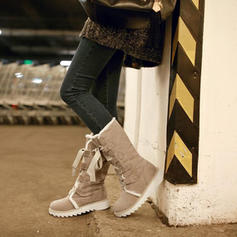 Kvinner Stoff Lav Hæl Mid Leggen Støvler Snø Støvler med Blondér sko
