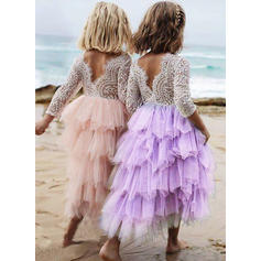 Girls Round Neck Patchwork Vintage Flower Girl Dress