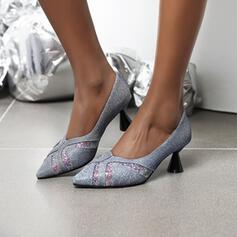Femmes PU Talon cône Escarpins Bout pointu avec Pailletes scintillantes chaussures