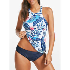 Leaves Top U Neck Elegant Tankinis Swimsuits
