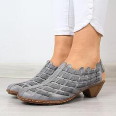 Mulheres PU Salto robusto Sandálias com Oca-out sapatos