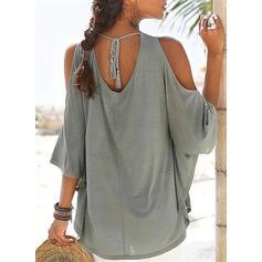 Solide Ronde Hals 1/2 Mouwen Casual Overhemd