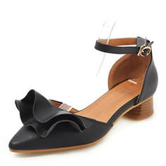 Women's Leatherette Chunky Heel Sandals Closed Toe With Ruched shoes