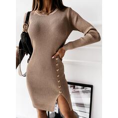 Jednobarevné Kulatý výtřih Dlouhé Upnuté Svetrové šaty