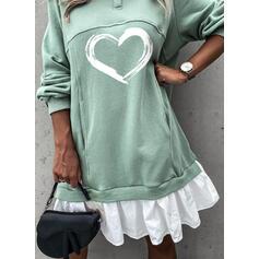 Impresión/Bloque de color/Corazón Manga Larga Tendencia Sobre la Rodilla Casual Vestidos