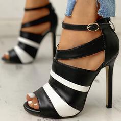 Women's PU Stiletto Heel Pumps Peep Toe With Buckle shoes