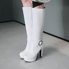 Жіночі ПУ Квадратні підбори Черевики вище колін з Пряжка Блискавка взуття