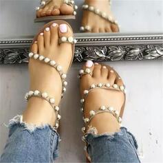 Mulheres PU Sem salto Chinelos com Pérola Imitação sapatos