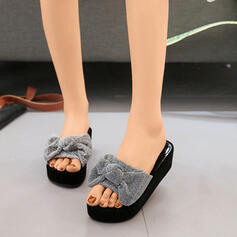 Women's Fabric Wedge Heel Sandals Wedges Peep Toe Slingbacks Slippers With Bowknot shoes