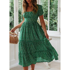 PolkaDot Short Sleeves A-line Casual/Vacation Midi Dresses