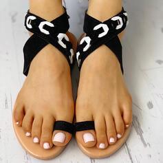Women's PU Flat Heel Sandals Peep Toe Slippers With Crisscross shoes