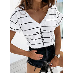 Print Striped V-Neck Short Sleeves Casual T-shirts