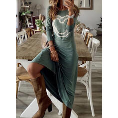 Print/Heart Long Sleeves Shift Casual Maxi Dresses