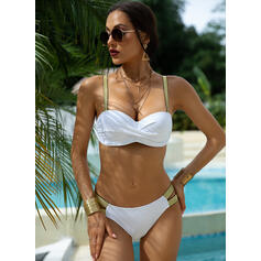 Solid Color Push Up Strap Sexy Bikinis Swimsuits