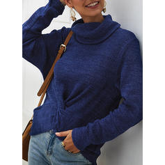 Solid Ribbet Cowl Neck Gensere
