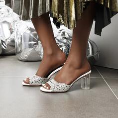 Mulheres PU Salto robusto Sandálias Sapatos abertos Chinelos com Strass sapatos