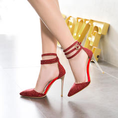 Women's Sparkling Glitter Stiletto Heel Sandals Pumps Closed Toe With Imitation Pearl Buckle shoes