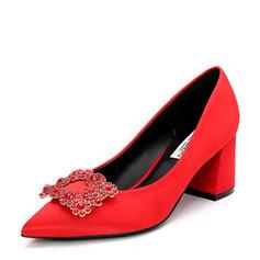 Femmes Satiné Talon bottier Escarpins Bout fermé avec Strass chaussures