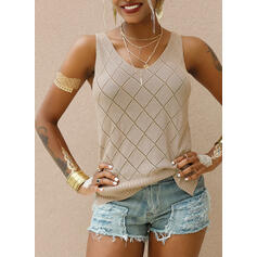 Solid V-Neck Casual Tank Tops