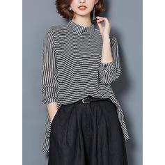 Prążki Klapa Długie rękawy Elegancki Bluski koszulowe